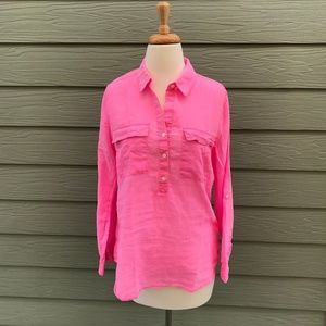 Old Navy Linen Poplin Hot Pink Womens Size Medium